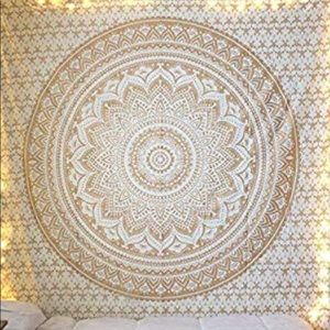 white and gold tapestry